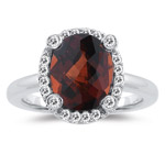 1/4 Cts Diamond & 3.60 Cts Garnet Ring in 14K White Gold