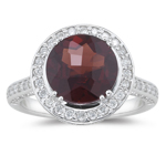 1.00 Ct Diamond & 4.45 Cts Garnet Ring in 14K White Gold