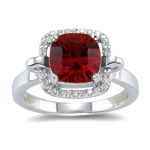 0.12 Cts Diamond & 2.86 Cts of 8 mm AA Cushion Concave Garnet Ring in 14K White Gold