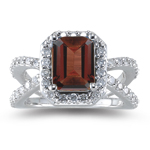 0.63 Ct Diamond & 1.15 Cts Garnet Ring in 14K White Gold