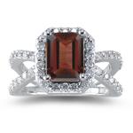 0.63 Ct Diamond & 1.15 Cts Garnet Ring in 14K White Gold