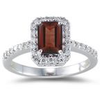 0.26 Ct Diamond & 1.15 Ct Garnet Ring in 18K White Gold
