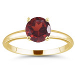 0.99 Cts Garnet Solitaire Ring in 14K Yellow Gold