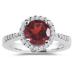 0.24 Cts Diamond & 3.22 Cts Garnet Ring in Platinum