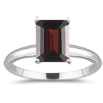 1.83 Cts Garnet Solitaire Ring in 14K White Gold