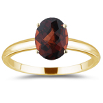 1.46 Cts Garnet Solitaire Ring in 14K Yellow Gold