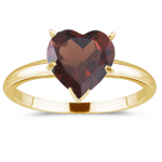 0.87 Cts Garnet Solitaire Ring in 14K Yellow Gold