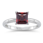 1.45 Cts of 6 mm AA Princess Garnet Scroll Solitaire Ring in 14K White Gold