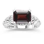 0.04 Cts Diamond & 4.05 Cts Garnet Ring in Silver