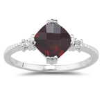 0.02 Cts Diamond & 1.50 Cts Garnet Ring in 14K White Gold