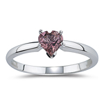 0.50 Cts of 5 mm AA Heart Pink Tourmaline Ring in 14K White Gold