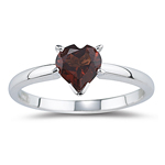 0.73 Cts of 6 mm AA Heart Garnet Ring in 14K White Gold
