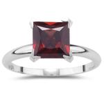 2.10 Cts of 7 mm AA Princess Garnet Solitaire Ring in 14K White Gold