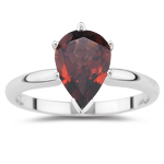 1.83 Cts of 10x7 mm AA Pear Garnet Solitaire Ring in 14K White Gold