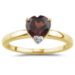 0.01 Ct Diamond & 1.32 Cts Garnet Heart Ring in 14K Yellow Gold