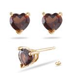 Garnet (5mm Heart) Stud Earrings in 14K Yellow Gold