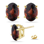 3.36-3.40 Cts of 8x6 mm AA Oval Checker Board Garnet Stud Earrings in 14K Yellow Gold