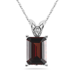 2.75 Cts of 9x7 mm AAA Garnet Scroll Solitaire Pendant in Platinum