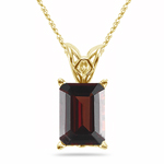 6.90-10.20 Cts of 14x10 mm AAA Garnet Scroll Solitaire Pendant in 14K Yellow Gold - Christmas Sale