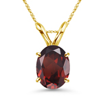 6.65-8.45 Cts of 14x10 mm AAA Oval Garnet Solitaire Pendant in 14K Yellow Gold