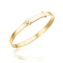 Childrens Jewelry - 0.01 Cts Diamond Heart Bangle in 14K Yellow Gold