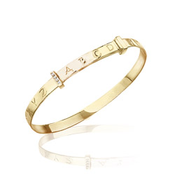 Childrens Jewelry - 0.02-0.04 Cts  SI2 - I1 clarity and I-J color Diamond Alphabet Bangle 14K Yellow Gold