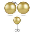 10.5-11 mm Golden South Sea Pearl (AA) Earrings in Platinum