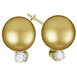 0.15 Cts Diamond & 10.5-11 mm Golden South Sea Pearl (AA) Earrings in 14K Yellow Gold