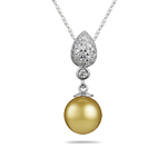 0.50 Cts Diamond & 10 mm Golden South Sea Cultured Pearl Pendant-14K White Gold