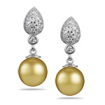 0.50 Cts Diamond & 10 m Golden South Sea Pearl Dangle Earrings in 14K White Gold