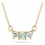 4 mm Green Amethyst & 1/4 Cts Diamond Pendant in 18K Yellow Gold