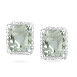 0.42 Cts Diamond & 5.80 Cts Green Amethyst Earrings in 14K White Gold