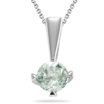 1.00 Ct of 6 mm AA Round Green Amethyst Solitaire Pendant in Silver