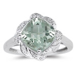 0.09 Ct Diamond & 2.70 Cts AAA Green Amethyst Ring in 14K White Gold
