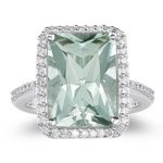 3/4 Ct Diamond & 6.50-7.30 Cts AAA Green Amethyst Ring in 14K White Gold