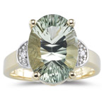 0.02 Ct Diamond & 5.24 Cts AAA Green Amethyst Ring in 14K Yellow Gold