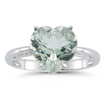 3.09 Ct 10 mm AA Heart Green Amethyst Scroll Solitaire Ring- 14KW Gold