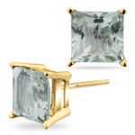3.20 Ct 7 mm Princess Green Amethyst Stud Earrings in 14K Yellow Gold