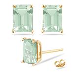 8x6 mm Emerald Cut Green Amethyst Stud Earrings in 14K Yellow Gold