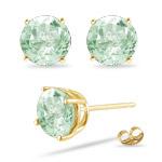 7 mm Round Green Amethyst Stud Earrings in 14K Yellow Gold