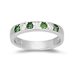 0.42 Cts Green Diamond & White Diamond Ring in 14K White Gold