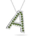 0.27 Cts Green Diamond A Initial Pendant in 14K White Gold