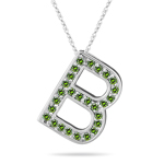 0.27 Cts Green Diamond B Initial Pendant in 14K White Gold