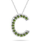 0.30 Cts Green Diamond C Initial Pendant in 14K White Gold