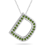 1/4 Cts Green Diamond D Initial Pendant in 14K White Gold