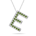 0.30 Cts Green Diamond E Initial Pendant in 14K White Gold
