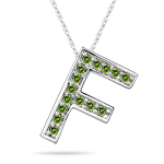 0.30 Cts Green Diamond F Initial Pendant in 14K White Gold