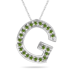 0.27 Cts Green Diamond G Initial Pendant in 14K White Gold