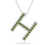 0.26 Cts Green Diamond H Initial Pendant in 14K White Gold