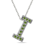 0.22 Cts Green Diamond I Initial Pendant in 14K White Gold